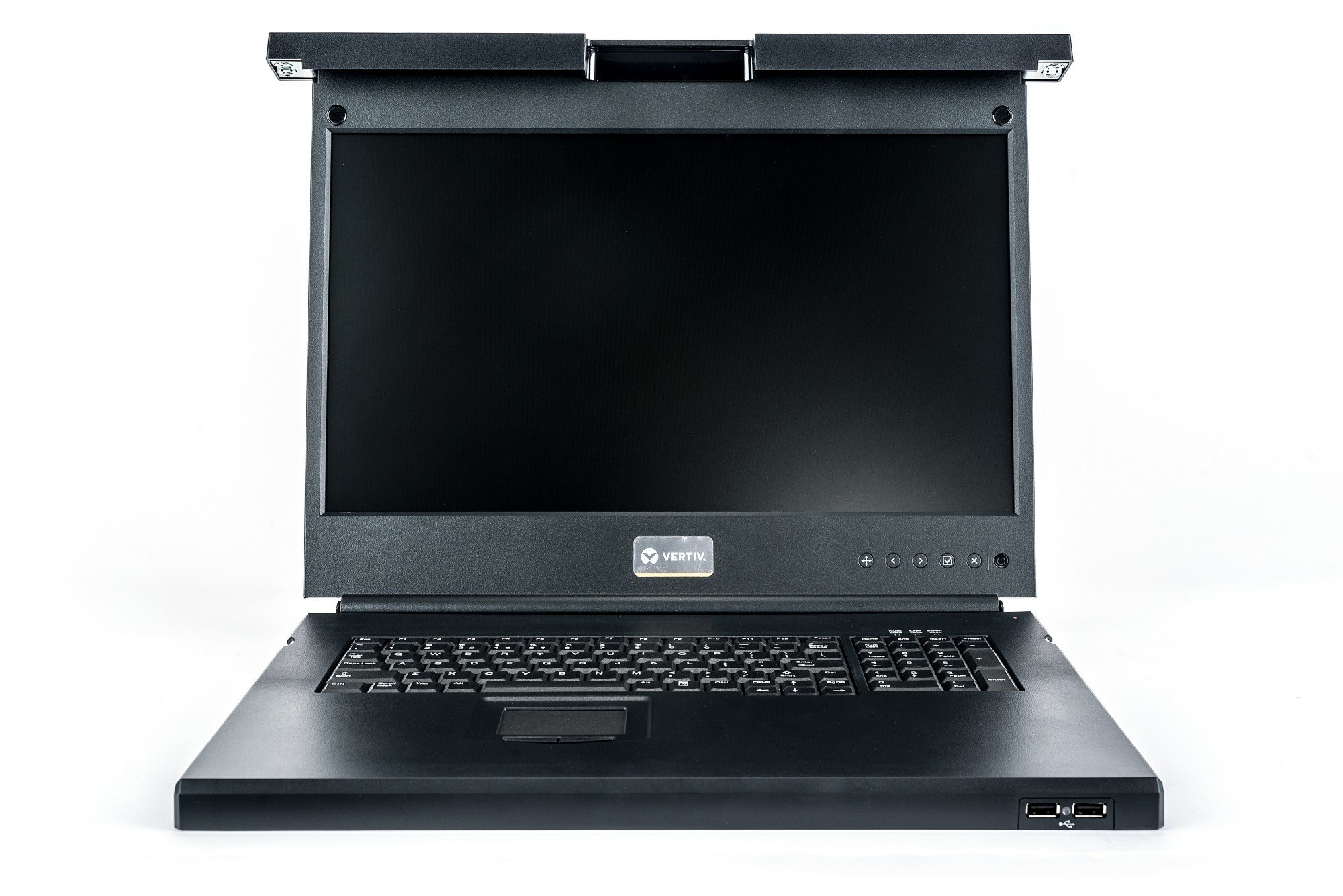 An image of Vertiv lcd local rack access console, 16p kvm, 16 cables, usb kb-fra