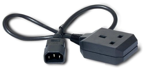 An image of APC c14/bs1363 0.6m power cable black c14 coupler