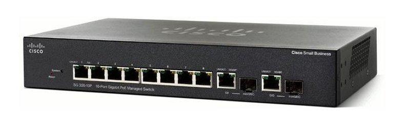 An image of Cisco sg355-10p managed l3 gigabit ethernet (10/100/1000) black power over ether...