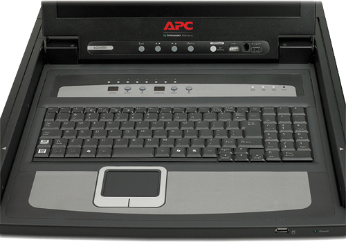 "An image of APC 17"" rack lcd console with integrated 8 port analog kvm switch"