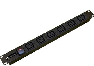 An image of 8 way 1u horizontal c19 iec c/w trailing lead