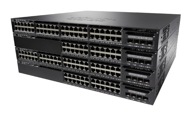 An image of Cisco catalyst ws-c3650-48td-s network switch managed l3 gigabit ethernet (10/10...