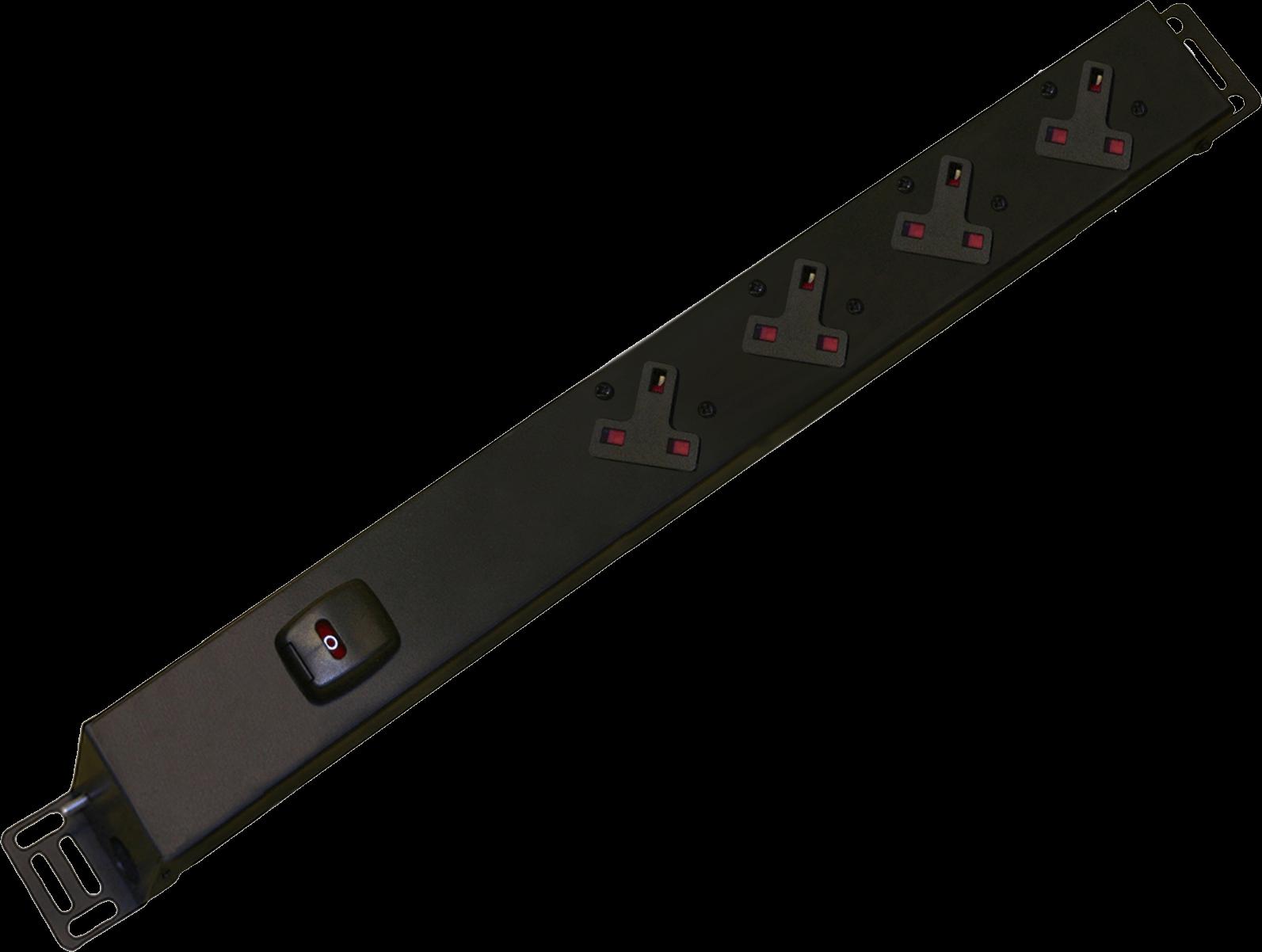 An image of 4 way vertical slimline PDU r/h c/w uk plug