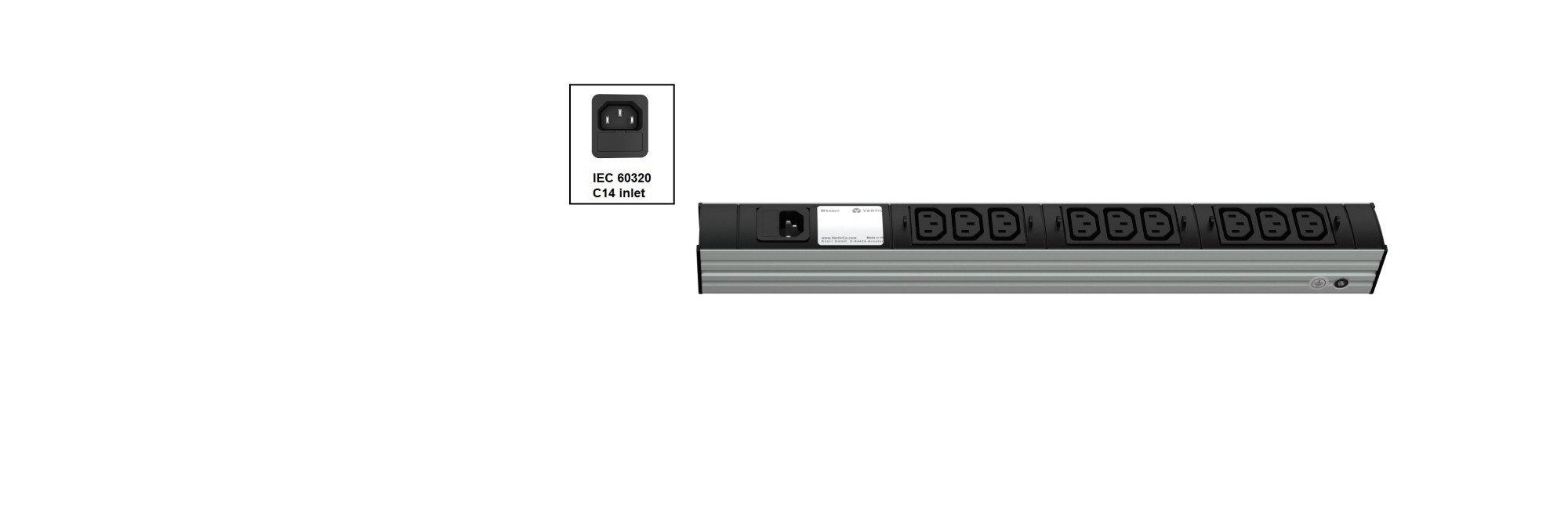 An image of Vertiv knürr dis rack PDU, iec320, 0u/ input iec 60320 c14 230v 10a, outputs (9...