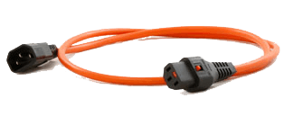An image of Power cable c14 iec - locking c13 iec 0.5m long
