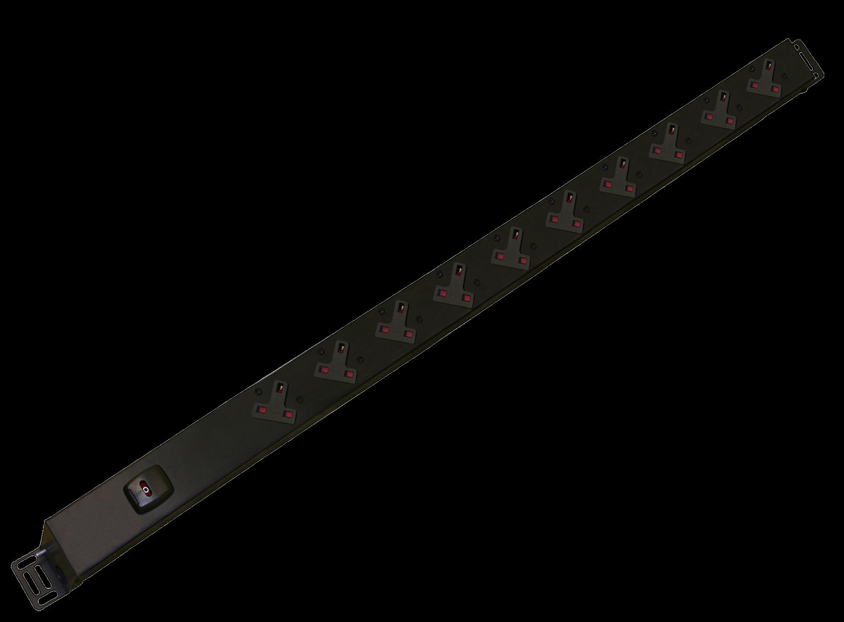 An image of 10 way vertical slimline PDU r/h c/w uk plug