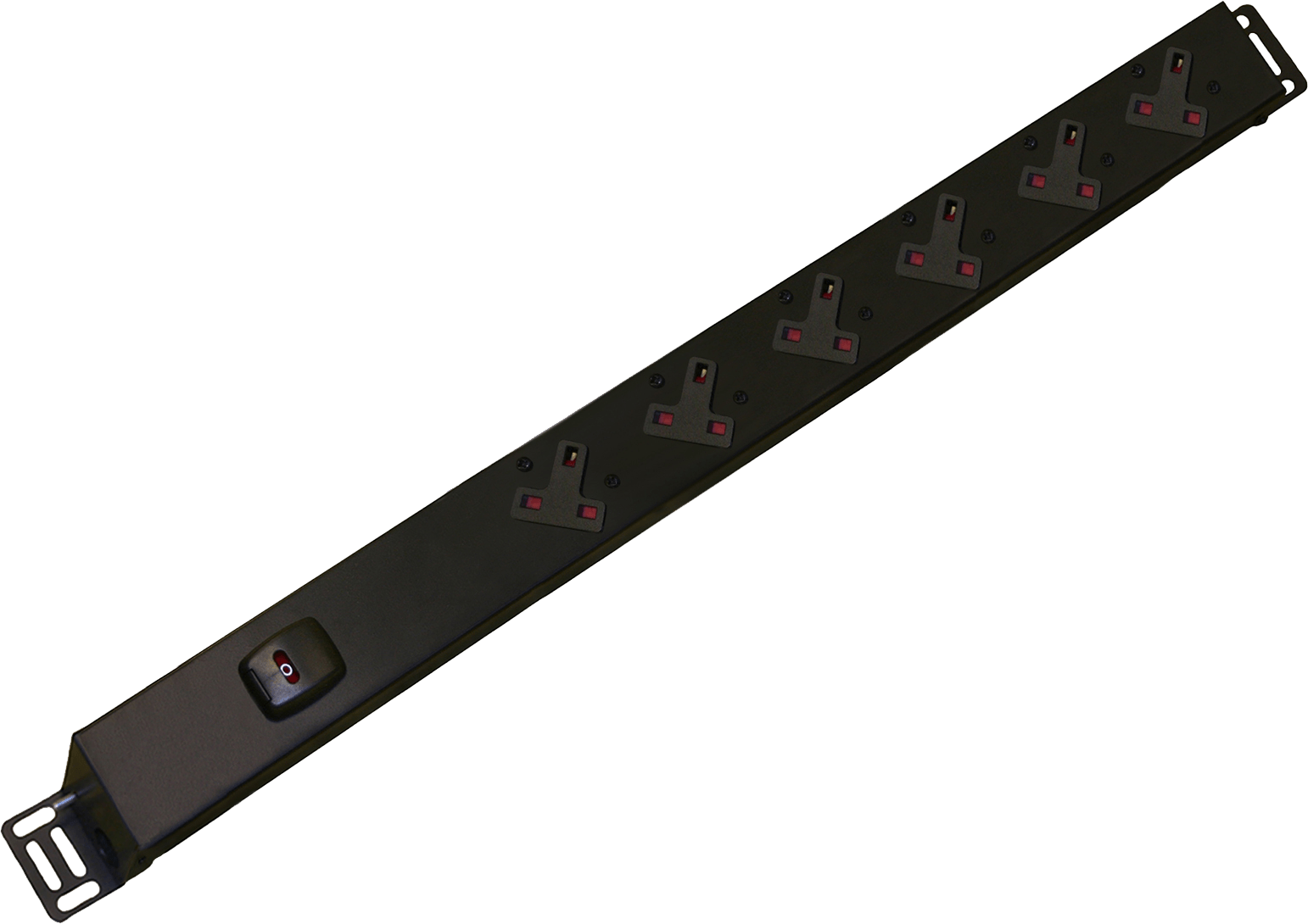 An image of 6 way vertical slimline PDU r/h c/w uk plug