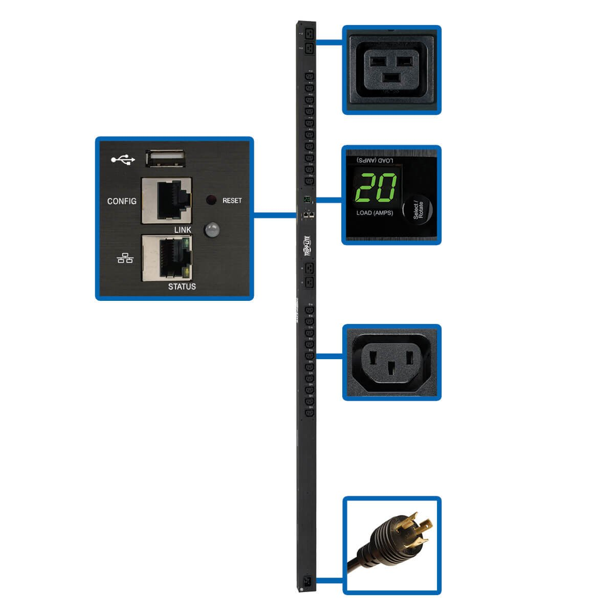 An image of Tripp lite 3.2–3.8kw single-phase switched PDU with lx platform interface, 200...